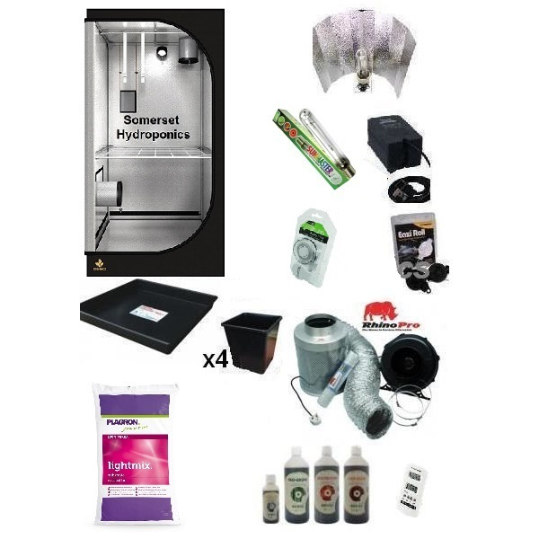 Organic 4 Plant Grow Kit - 250w - DS60 Tent - Hydroponic & Soil Growing Kits