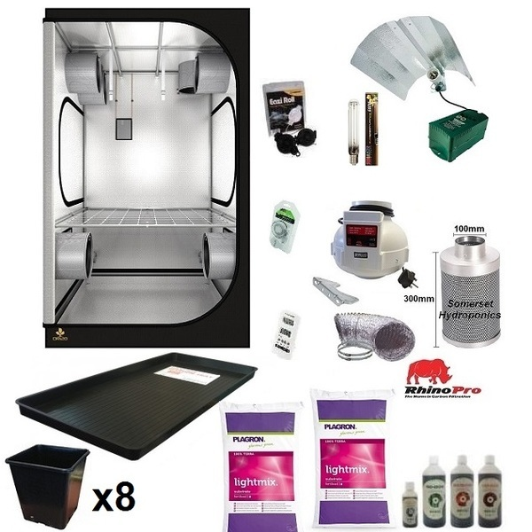 Organic 8 Plant Growing Kit - 600w - DS120 Tent   - Hydroponic & Soil Growing Kits